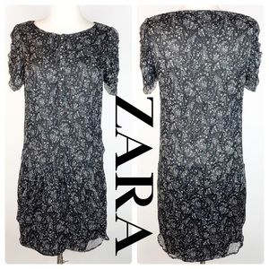 ZARA Ruffle Sleeve Print Dress With Hip Pockets S